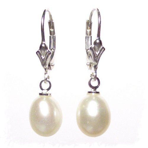 Large Freshwater Pearl drops on Sterling Silver