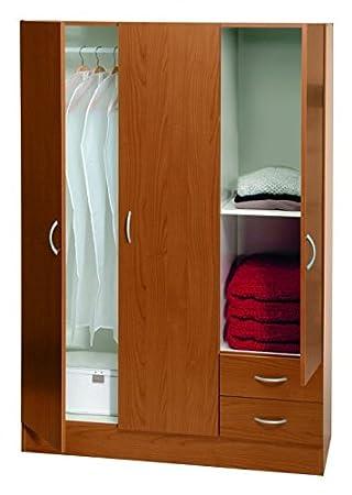 Composad armario tres puertas y dos cajones con estantería interior.L120x H170X p50cm Cerezo