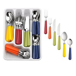 Multi color 48 piece flatware set stainless steel with plastic handles serving sets - Flatware with colored handles ...