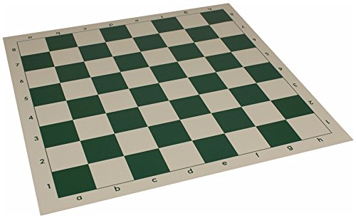 "Club Vinyl Rollup Chess Board Green & Buff - 2.25"" Squares"
