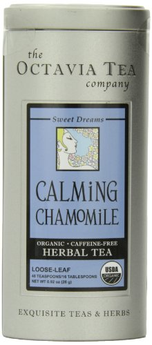 Octavia Tea Calming Chamomile (Organic, Caffeine-Free Herbal Tea), Loose Tea, 0.92-Ounce Tins (Pack of 2)