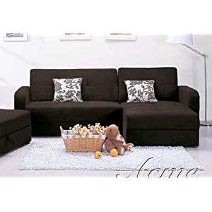 Sectional Sleeper Sofa with Storage and Pillows Dark Brown Microfiber