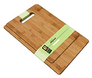Solid Green 2 Piece Bamboo Cutting Board Set