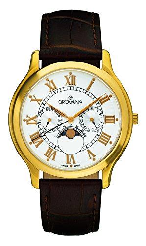 GROVANA - 1025.1513 - Montre Mixte - Quartz - Analogique - moon age display - Bracelet Cuir marron