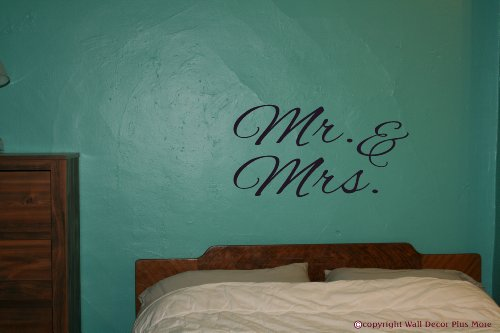 Wall Decor Plus More Mr. & Mrs. Wall Art For Family Room Or Master Bedroom Wall Sticker Decal 36W X 19H - Black Black front-87249