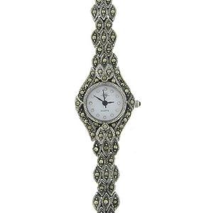 sterling silver marcasite leaf design watch