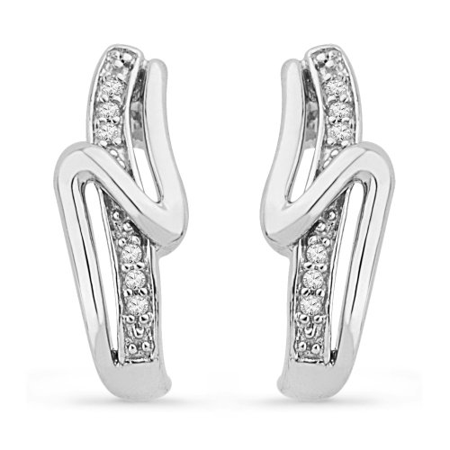 Platinum Plated Sterling Silver Round Diamond Twisted Fashion Earring (1/20 CTTW)