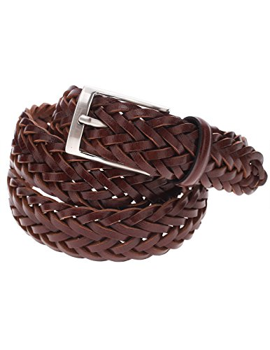 FLATSEVEN Mens Braided Elastic Stretch Leather Belt with Square Silver Buckle (Y413), DarkBrown