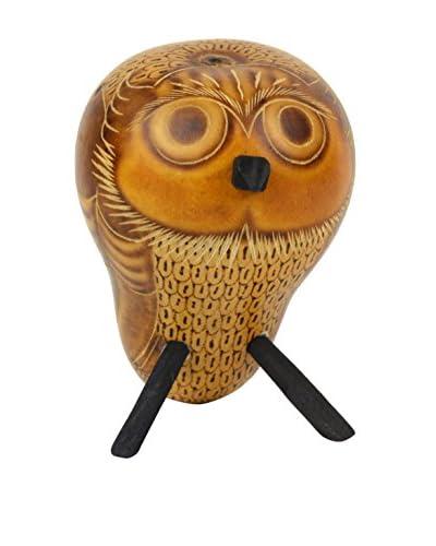 Uptown Down Found Owl Gourd Rattle, Brown/Orange