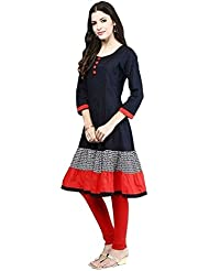 Maxthon Fashion Women Reguler Wear Kurtis (New Kurti Kurta Black & Red 5056)