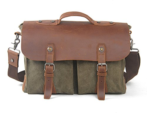 Bronze Times discount duty free Bronze Times (TM)Canvas PU Leather Briefcase Crossbody Bag Messenger Bag (Green)