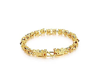 Qinggetme Men 18K Gold-Plated Cool Domineering Double Dragon Clasp Bracelet