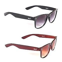 Elligator Stylish Black And Brown Wayfarer Sunglasses Combo ( Set of 2 )