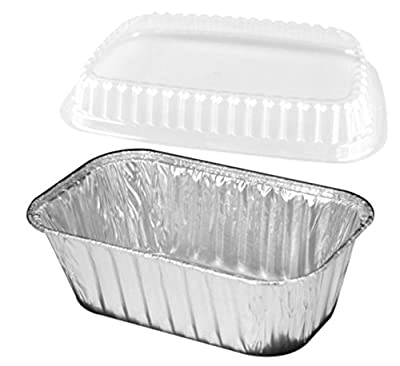 Handi-Foil 1 lb. - 25 Set - Aluminum Foil Mini-Loaf/Bread Baking Pan w/Clear Low Dome Lid