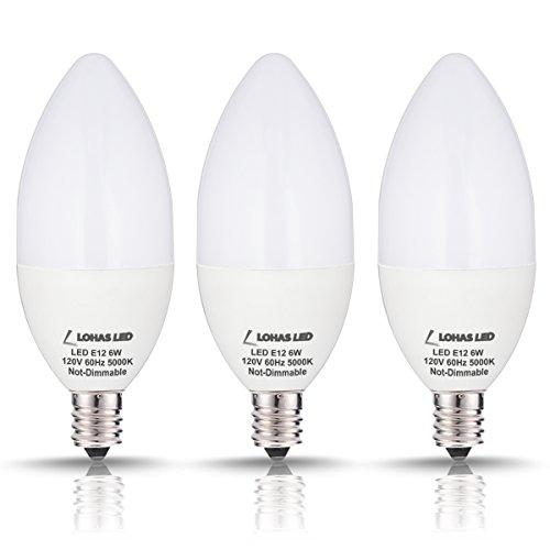 LOHAS Candelabra Bulb, 60 Watt LED Light Bulbs Equivalent, Daylight White(5000k) LED Bulbs Candle Light Bulb E12 Base, 120Volt, 550Lumens, 180 Degree Beam, LED Lights Pack of 3 (Not-Dimmable) (Candelabra Daylight Bulb compare prices)