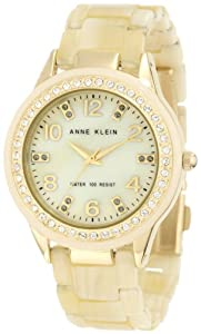 Anne Klein Women's 10/9956CMHN Swarovski Crystal Accented Gold-Tone Horn Resin Watch