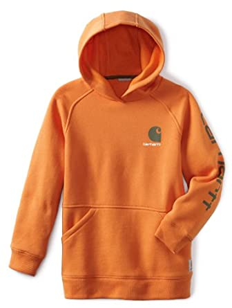 Carhartt Boys 8-20 Graphic Fleece Hooded Sweatshirt, Harvest Pumpkin, Small-8/10
