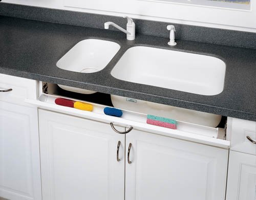Rev-A-Shelf 6542-14-11-52 Tip-Out Sink Front Trays with Hinges - Polymer-White
