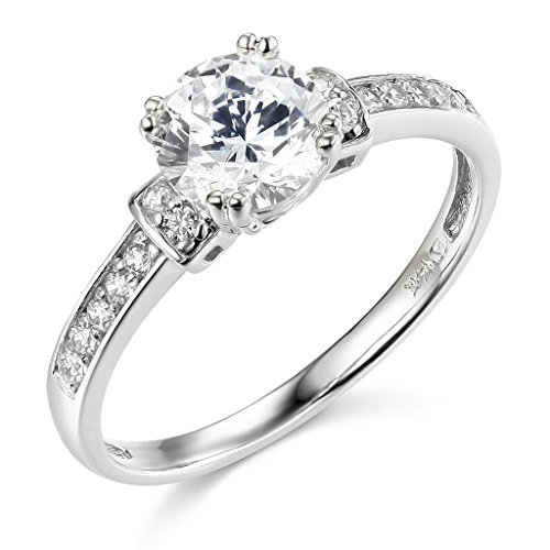 14k White Gold SOLID Wedding Engagement Ring - Size 6