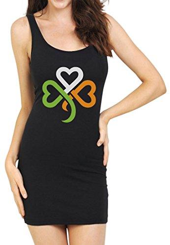 TeeStars - Shamrock Ireland Clover Hearts for St. Patrick's Day Tunic Dress Small Black