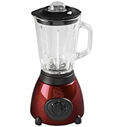 Kalorik BL-16911 500-Watt 2-Speed Countertop Glass Jar 50 Oz. Blender, Metallic Red