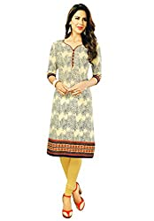 Salwar Studio Women's Cream & Orange Cotton Floral Printed Kurti Fabric