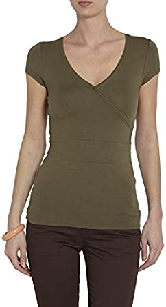 Morgan - T-shirt - Uni - Col V - Manches courtes - Femme - Vert (Kaki) - FR : 40 (Taille fabricant : M)