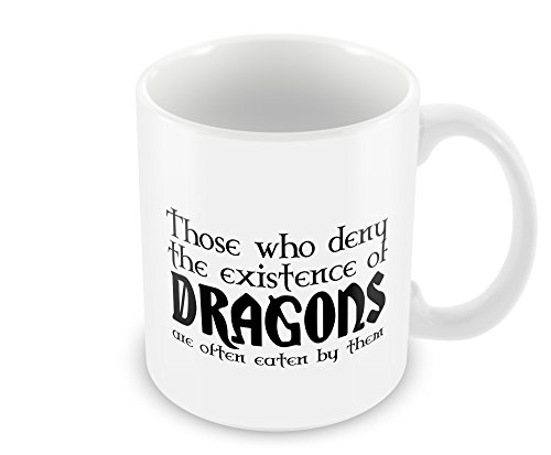 Geek Details White Those Who Deny the Existence of Dragons Are Often Eaten By Them Coffee Mug, 11 Oz, White (Geek Details Lord Of The Rings compare prices)