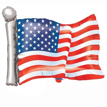 "American Flag Patriotic Metallic Balloon - 27"" - 1"
