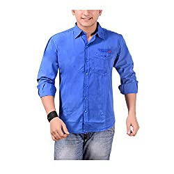 Anry Mens Cotton Casual Shirt (Roylblu410040 _Maroon _40)