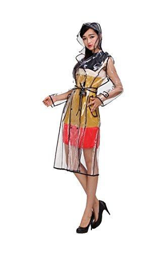 Mengsha's Transparent Vinyl Women's Waterproof Raincoat Runway Style with Belt