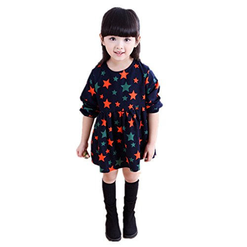 ftsucq-girls-star-printed-long-sleeve-dressblack-90-100