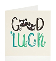 Cat Faces Good Luck Greetings Card