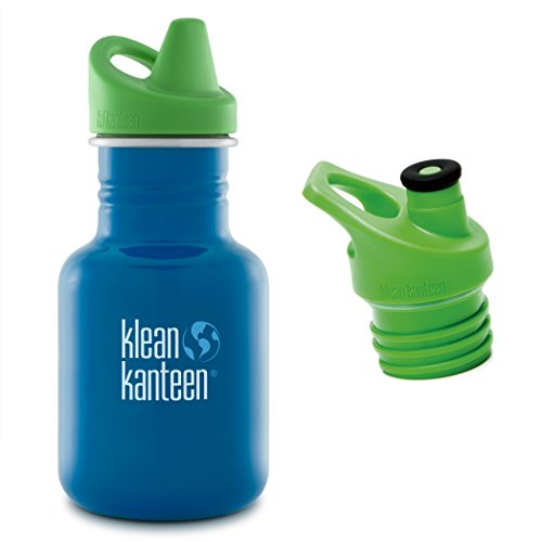 Klean Kanteen 12 oz Stainless Steel Water Bottle with 2 Caps (Kid Kanteen Sippy Cap and Sports Cap 3.0 in Bright Green) - Sky Diver (Klean Kanteen Sippy Cap compare prices)