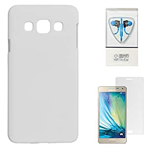 DMG Protective Hard Back Cover Case For Samsung Galaxy A3 SM-A300 (White) + Stereo Headset With Remote and Mic + Matte Screen