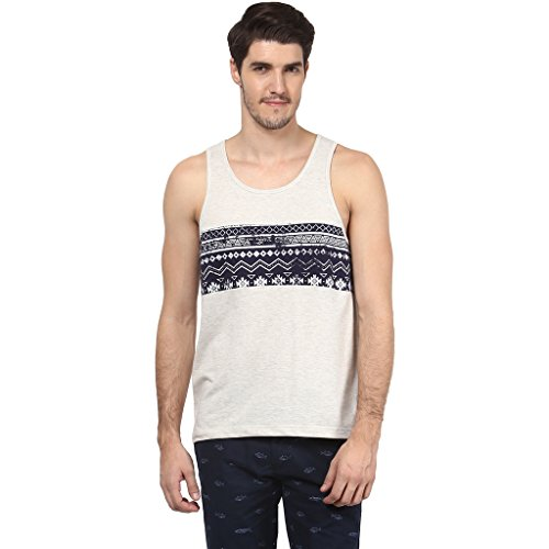 Atorse Mens Offwhite And Printed Navy Cut And Sew Casual Sandos