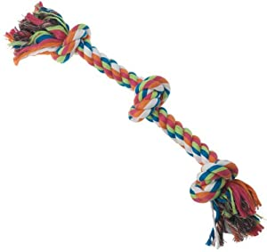 Petrageous Designs KaleidoROPE Dog Toy, 25 3 Knot Rope, Bone