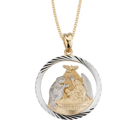 14k Two Tone Gold Diamond Cut Baptism Medal Necklace, 18