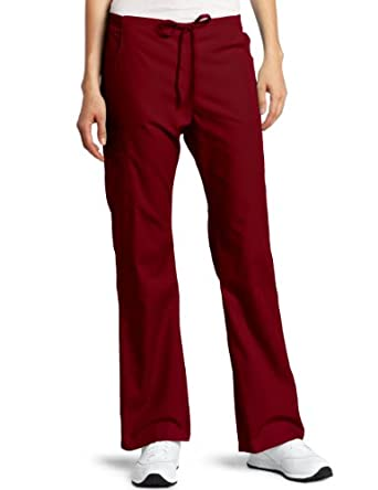 Dickies Scrubs Women's Back Elastic Cargo Pant, Wine, XX-Small