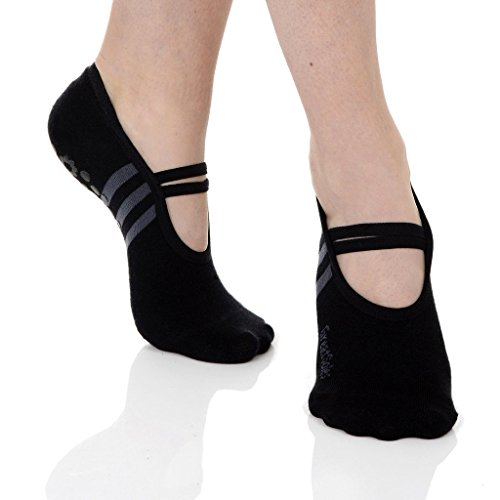 Great Soles Women's Ballet Sock , Black/Grey, One Size - comfortably fits women shoe sizes 6-10.