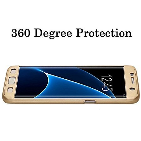 AE (TM) 360 Degree SAMSUNG GALAXY J7 Front Back Cover Case WITH TEMPERED - GOLD (look like ipaky)