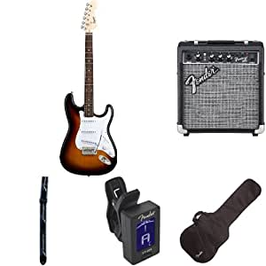 fender sunburst electric strat guitar kit includes guitar stand strap gig bag. Black Bedroom Furniture Sets. Home Design Ideas