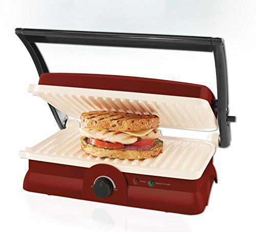 Oster DuraCeramic Panini Maker and Grill, Candy Apple Red by Oster (Oster Duraceramic Panini Maker compare prices)