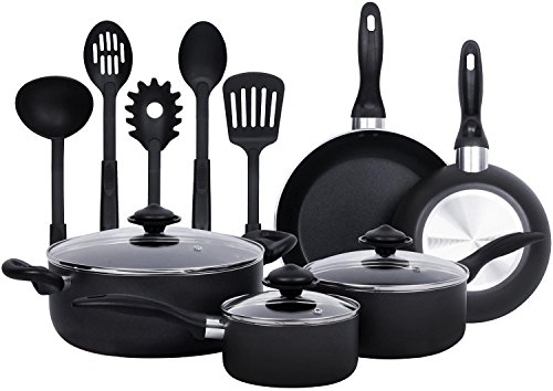 13-Pieces - Heavy Duty Cookware Set - Black, Highly Durable, Even Heat Distribution, Double Nonstick Coating - Multipurpose Use for Home, Kitchen or Restaurant - by Utopia Kitchen (Cookware Set) (Multipurpose Cookware compare prices)