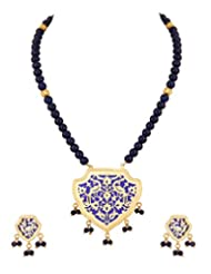 Voylla Thewa Necklace Set With Peacock Designing