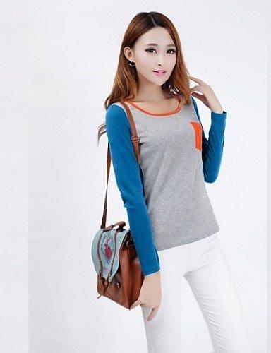 ZXR Collare rotondo Colore Contrast da donna T-shirt Spicing , dark gray-m , dark gray-m