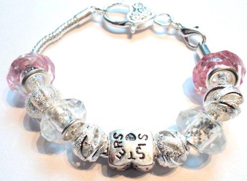 Sister's Children's Pandora Style Charm Bracelet - 18cm Silver Plated Bracelet - Ideal Birthday/Christmas Present
