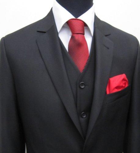 MUGA 2-Button mens Suit + Waistcoat, Black, size 56S (EU 34)