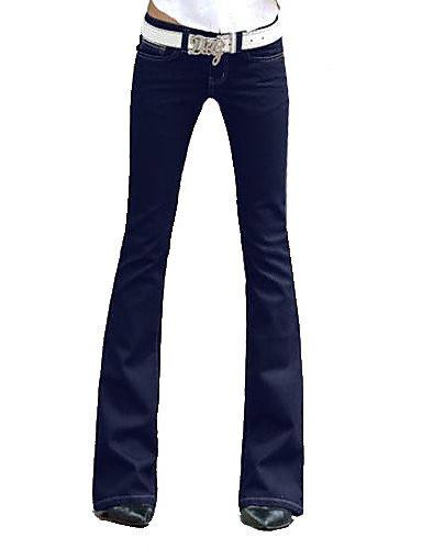 ZY/ solidi blu denim bootcut jeans delle donne , blue-26 , blue-26