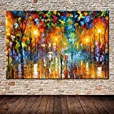 Handpainted Lovers Rain Stree Tree Lamp Landscape Oil Painting On Canvas Wall Art Picture For Home Decoration Wall Decor